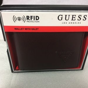 Guess Billfold RFID Mens Brown Wallet With Valet